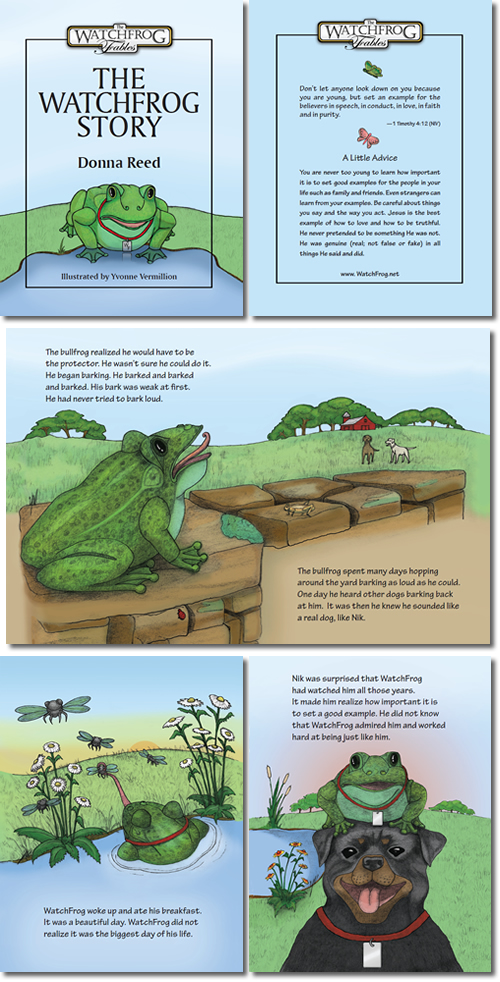 Full color illustrations and page layout design for The WatchFrog Story