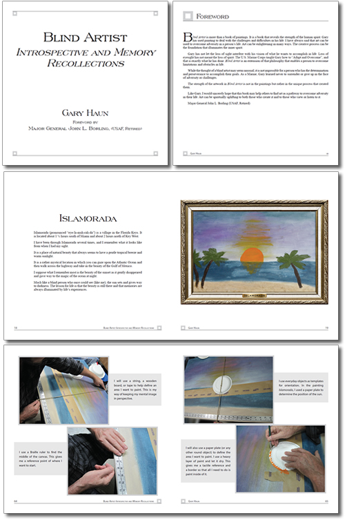 Typesetting and page layout design for Blind Artist