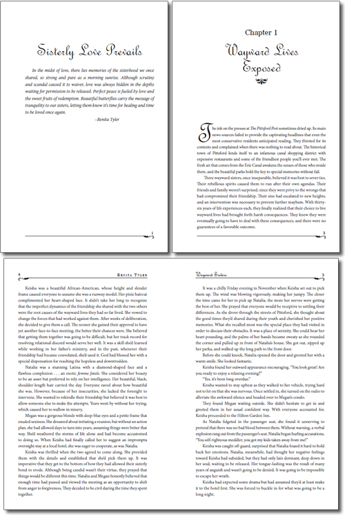 Typesetting and page layout design for Wayward Sisters
