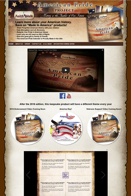 Website Design for American Pride Calendar