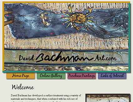 Website design for artist David Bachman