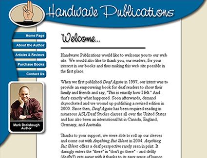 Website design for publisher Handwave Publications