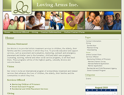 Website design for Youth Shelter Loving Arms, Inc.