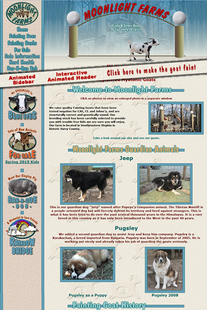 Website design for Moonlight Farms