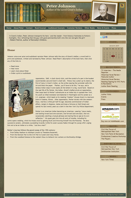 Website Design for author Peter Johnson