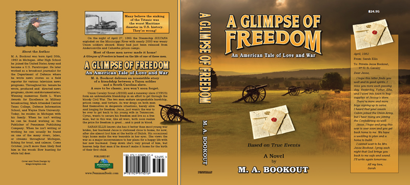 Dust jacket design for A Glimpse of Freedom