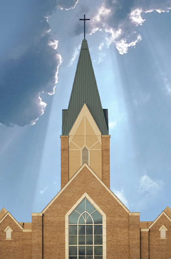 Photograph of Church Steeple with Clouds and Miracle
